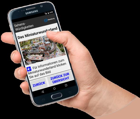Smartphone mit App Hamburg Leicht