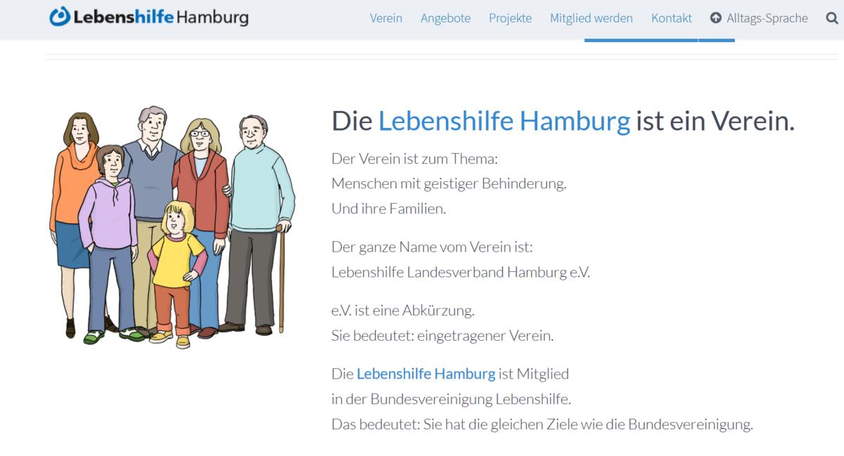 Textbeispiel: Die Lebenshilfe Hamburg ist ein Verein