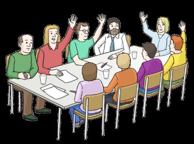 Grafik: Gruppe am Tisch, einige strecken die Arme in die Höhe