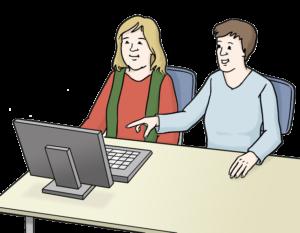 Grafik: Zwei Personen vor Computer, die eine hilft der anderen