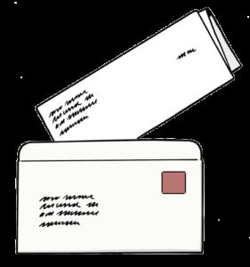 Grafik: Briefumschlag und gefalteter Brief