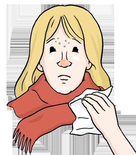 Grafik: Frau mit Schal um den Hals und Taschentuch in der Hand