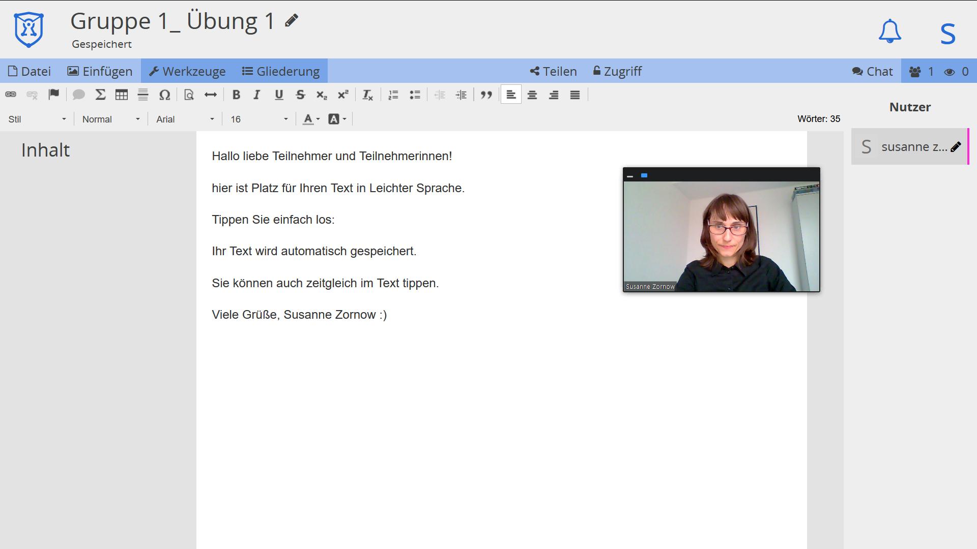 Bildschirmfoto: Schreibübung mit Sprechervideo
